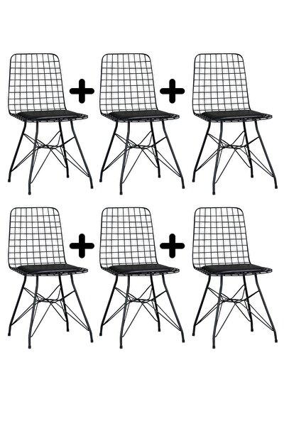 6'lı Siyah Eko Tel Sandalye-mutfak Sandalyesi-metal Sandalye-çalışma Sandalyesi-masa&sandalye