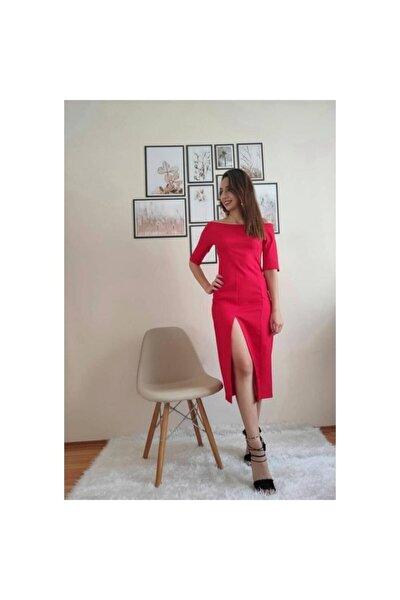 Kırmızı Truvakar Kol Elbise