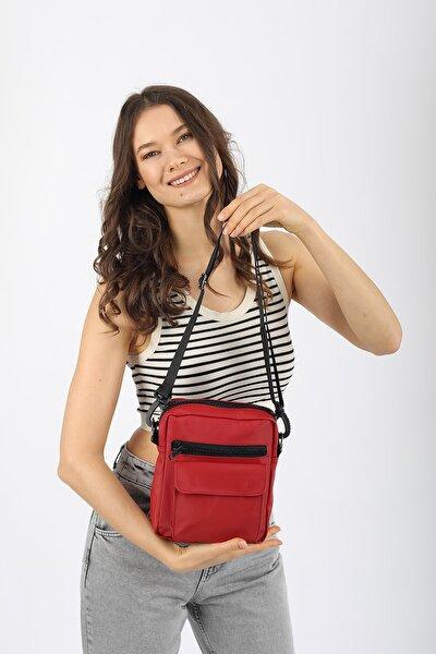 Aynı Butikte 2. Ürün 1 TL Kırmızı Unisex Saten Kumaş Askılı Çapraz Çanta