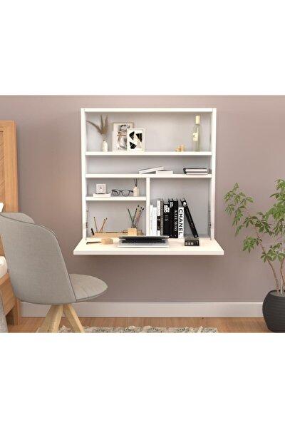 Folding Kitaplıklı Duvar Çalışma Masası Beyaz