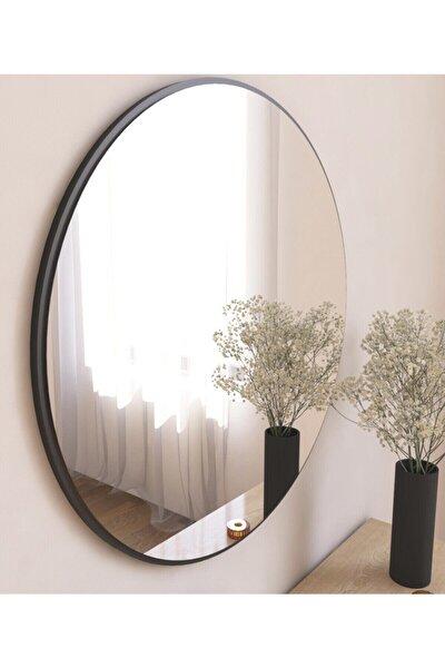 Dekoratif Siyah Yuvarlak Duvar Ayna Yvl12