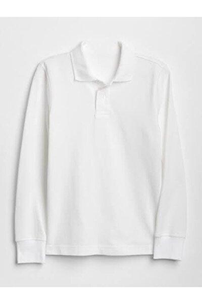 Unısex Beyaz  Uzun Kol Lakost  Polo Yaka T-shirt