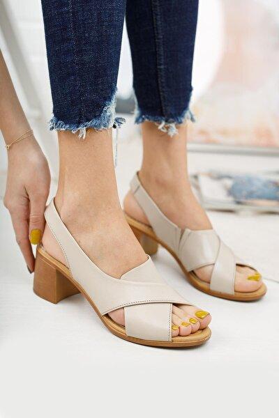 Hakiki Deri Kadın Topuklu Sandalet