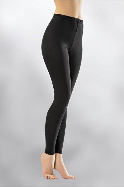 Kadın Siyah Penye Elastan Düz Desensiz Yüksek Bel Tayt Ary4000