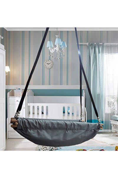 Ahşap Yaylı Zıpzıp Hamak Beşik Hoppala Tavana Asılan Salıncak Bebek Yatağı Kolon Halatlı