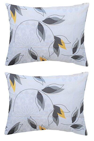 Beyaz Zemin Yapraklar Yastık Kılıfı 2 Adet 50x70
