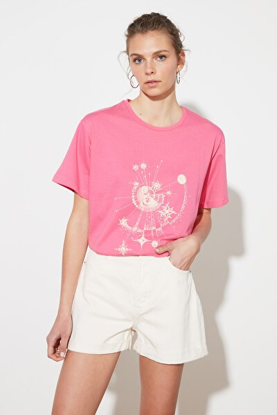 Pembe Baskılı Boyfriend Örme T-Shirt TWOSS21TS1103