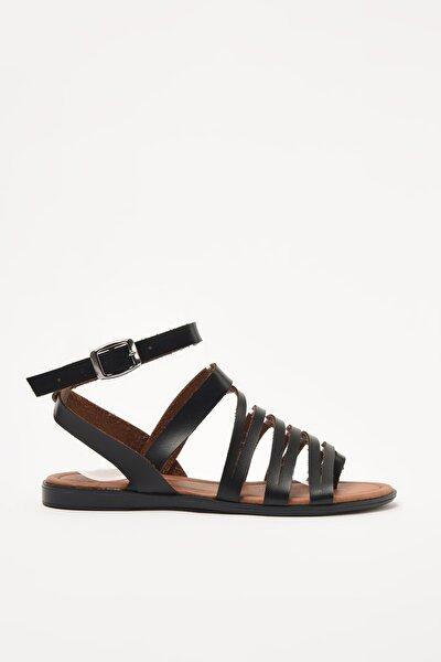 Hakiki Deri Siyah Kadın Sandalet 01SAY209300A100