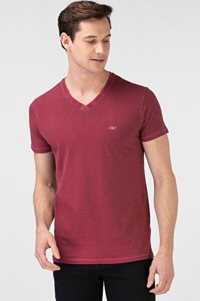 Erkek Slim Fit V Yaka Bordo T-Shirt TH0026