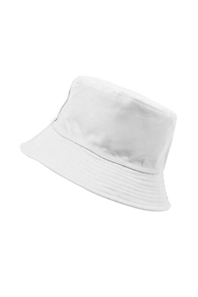 Beyaz Yuvarlak Yazlık Şapka