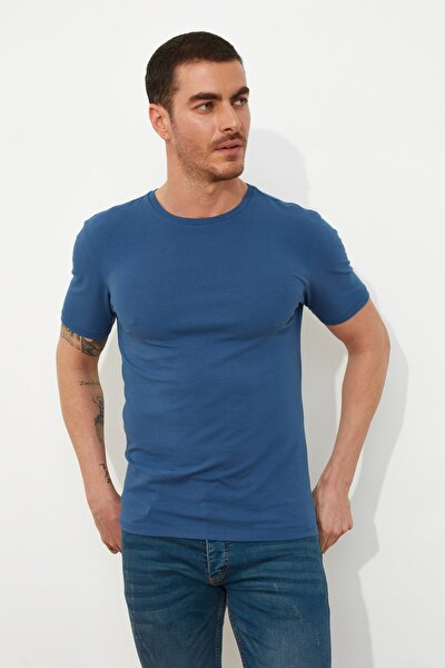 Indigo Basic Erkek Lycra Slim Fit Bisiklet Yaka Kısa Kollu T-Shirt TMNSS21TS0803