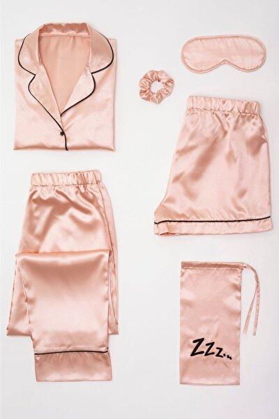Kadın  Saten 6 Lı Pembe  Pijama Set