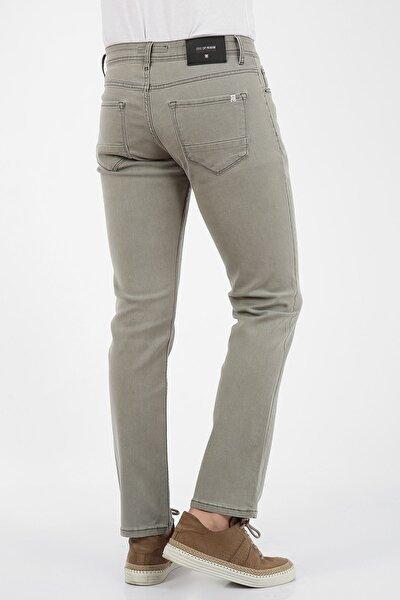 Erkek Bej Regular Fit Fermuarlı Jeans Pantolon