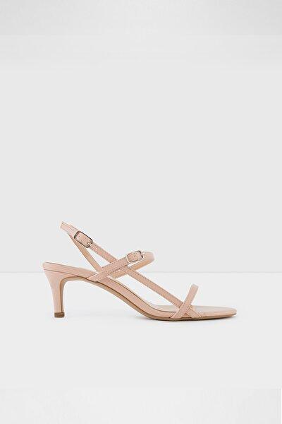 Kadın Pudra Deri Topuklu Sandalet