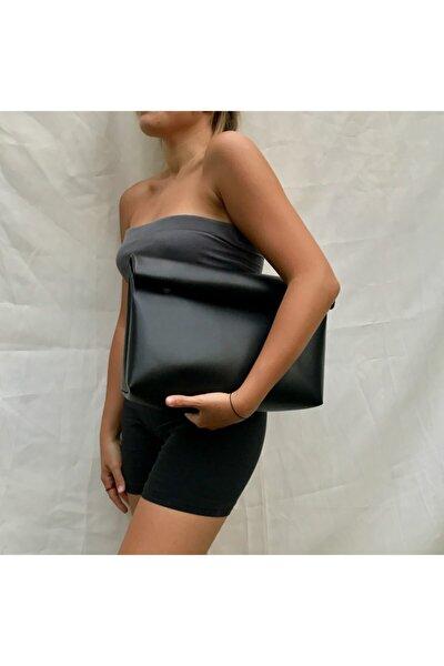 Kadın Siyah Suni Deri Clutch Çanta