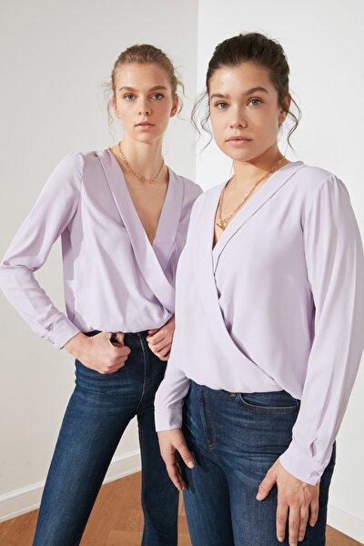 Lila Kruvaze Bluz TWOSS21BZ0141