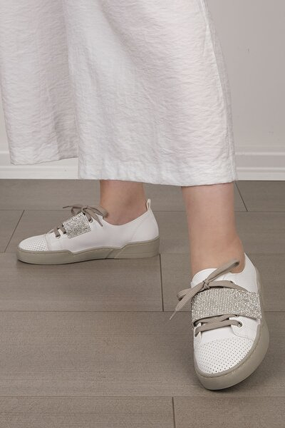 Kadın Beyaz Gümüş Sneaker Spor Ayakkabı Noni