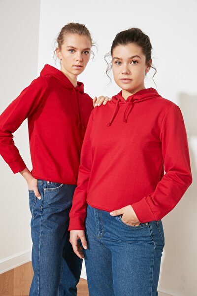 Kırmızı Kapüşonlu Basic Örme Sweatshirt TWOAW20SW0059