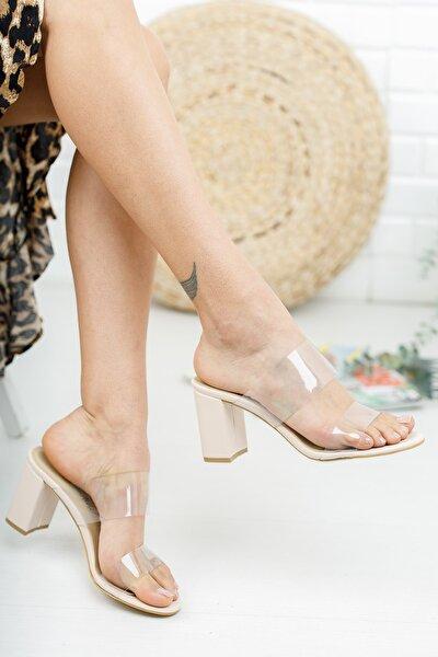 Nude Deri Cilt Şeffaf Kadın Topuklu Sandalet