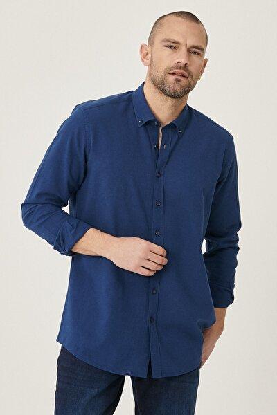 Tailored Slim Fit Dar Kesim Düğmeli Yaka Keten Gömlek