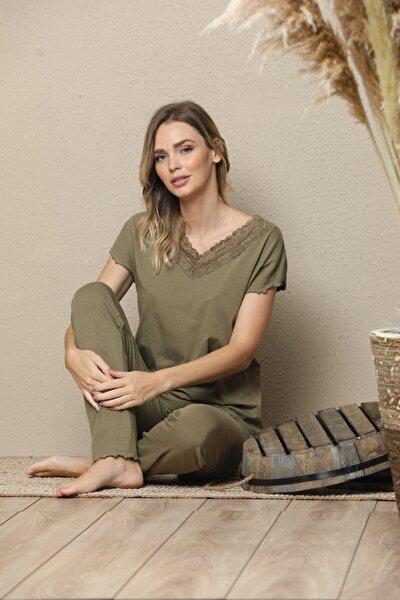 Kadın Yeşil Kısa Kollu Dantelli Pamuklu Likralı Pijama Takım