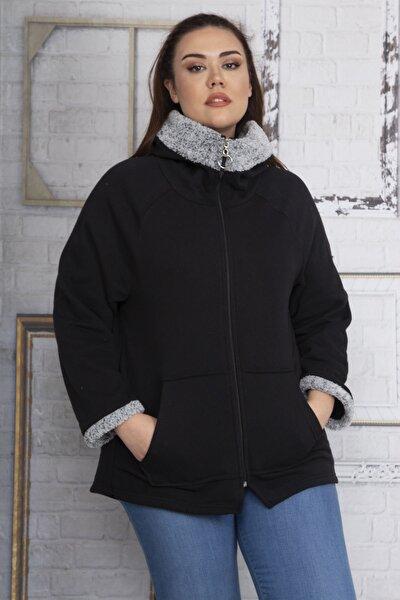 Kadın Siyah Kalın Üç İplik İç Şardonlu Kumaş Ön Fermuar Detaylı Kanguru Cepli Sweatshirt 65N22787