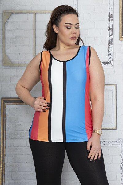 Kadın Renkli Kolsuz Bluz 65N22888