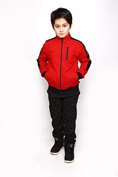 Erkek Çocuk Kırmızı Petek Kumaş Active Eşofman Takımı
