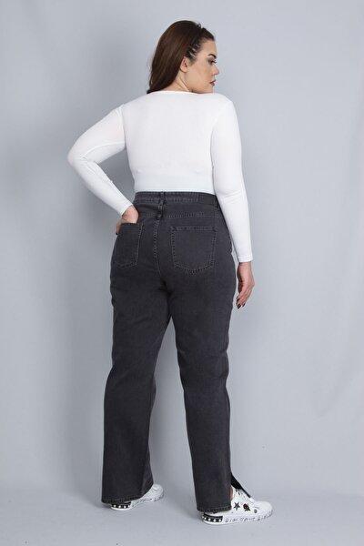 Kadın Antrasit Paça Yırtmaç Detaylı 5 Cepli Kot Pantolon 65N22761