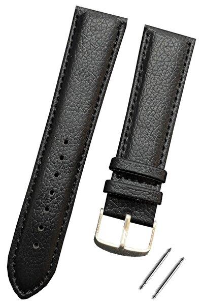 22mm Saat Uyumlu Siyah Renk Rolax Baskılı Model Deri Saat Kordonu Kayışı