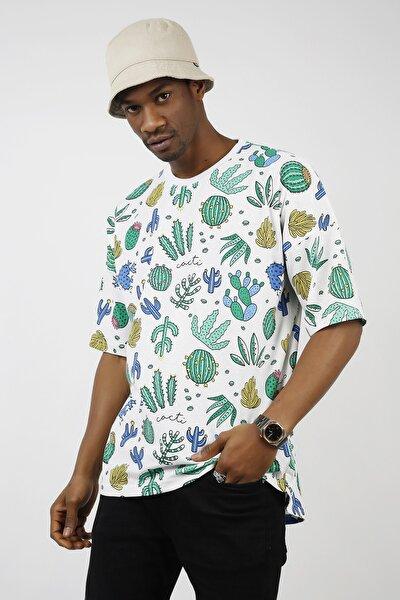 Beyaz Kaktüs Desenli Oversize T-shirt 1kxe1-44724-01