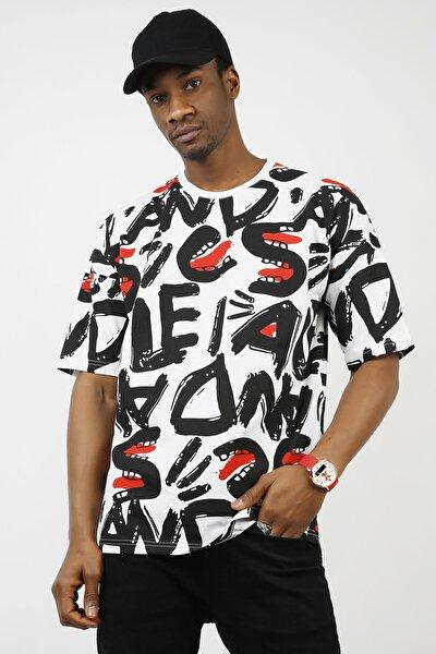 Beyaz Desenli Oversize T-shirt 1kxe1-44726-01