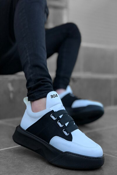 Erkek Sneaker Bantlı Yüksek Taban Beyaz Siyah