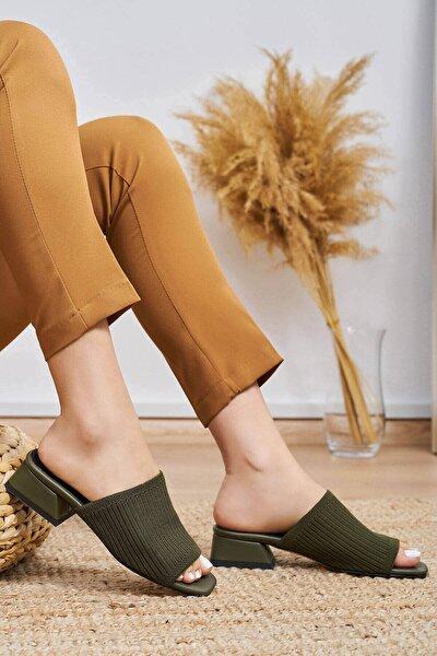 Kadın Yeşil Karen Triko Topuklu Terlik