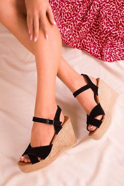 Siyah Süet Kadın Dolgu Topuklu Ayakkabı 15943