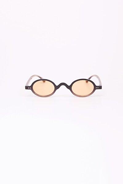 Minimal Oval Güneş Gözlüğü - Krem Şeffaf Cam