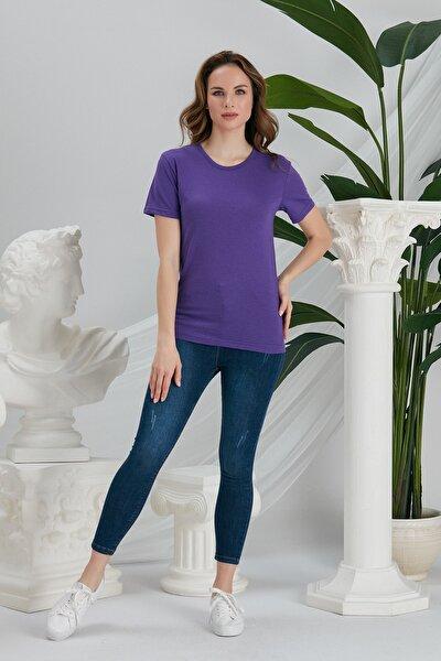 Kadın Mor Basic Örme T-shirt