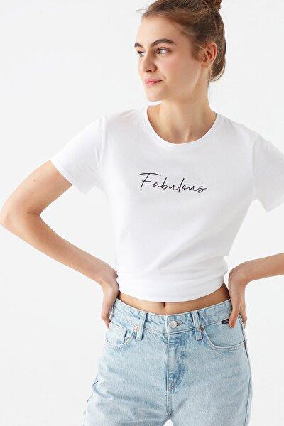 Kadın Fabulous Baskılı Beyaz Tişört 1600533-620
