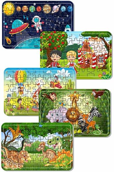 Uzay, Dinazor, Oyun, Hayvanlar 54 Parça Ahşap Puzzle Yapboz 5'li Set
