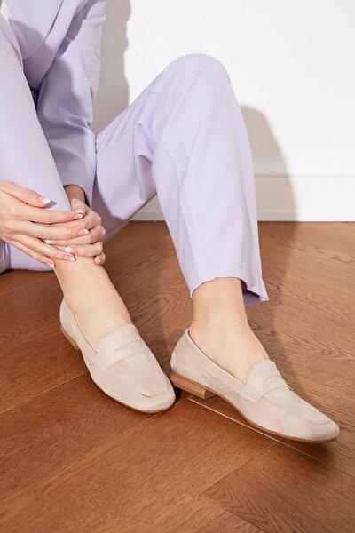 Vizon Süet Kadın Klasik Ayakkabı TAKSS21KA0002