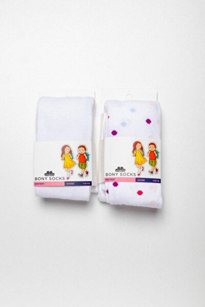 2 li Paket Desenli Kız Çocuk Külotlu Çorap - Beyaz