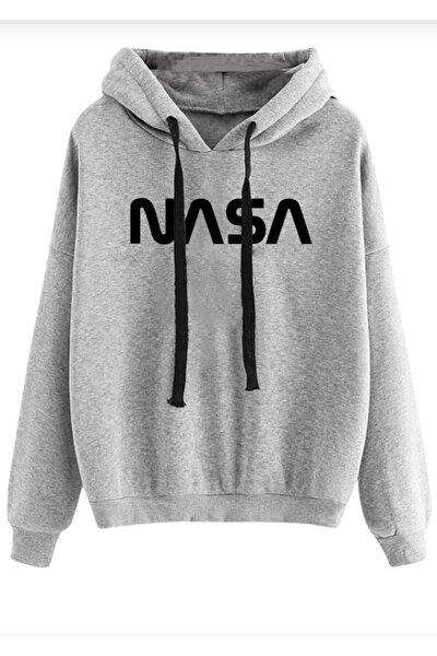 Unisex Nasa Baskılı Kapüşonlu Sweatshirt