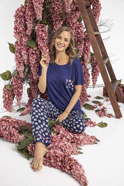 Kadın Viskon Kısa Kollu Pijama Takımı