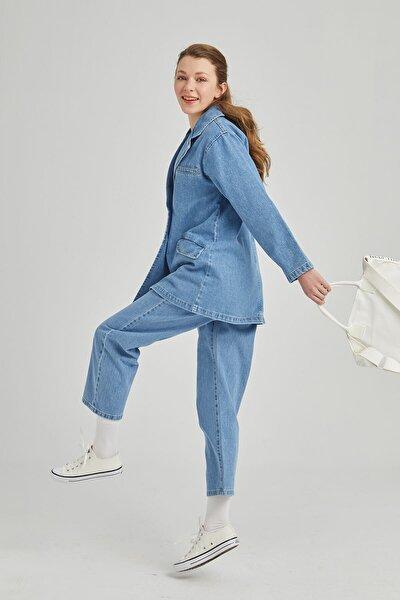 Kadın Mavi Pileli Klasik Denim Pantolon