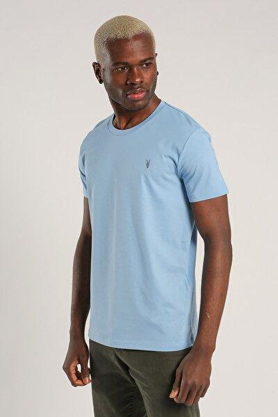 Buz Mavisi Renk Basic Pamuklu Bisiklet Yaka T-Shirt