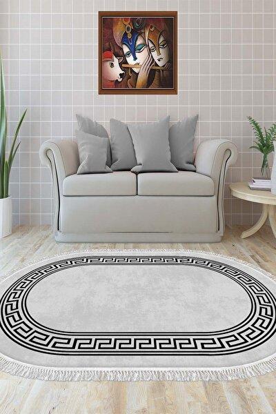 Dekoratif Yıkanabilir Kaymaz Tabanlı Oval Salon Halısı