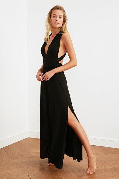Siyah Boyundan Bağlamalı Örme Plaj Elbisesi TBESS21EL2992