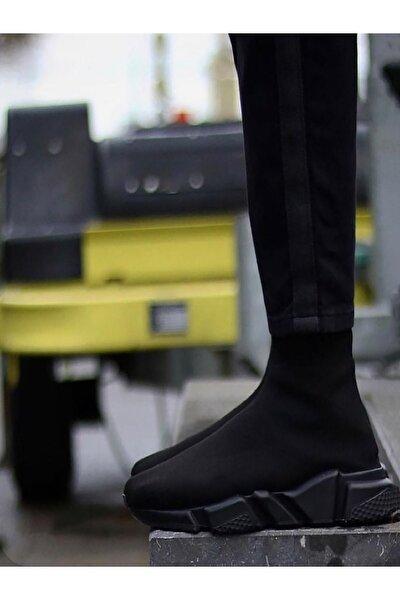 Unisex Siyah Çoraplı Yüksek Taban  Ayakkabı
