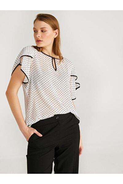 Kadın Puantiye Desenli Kolları Volanlı Bluz 62133