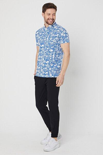 Pamuklu Modern Fit Hakim Yaka Garnili Erkek Mavi Beyaz Desenli T-shirt